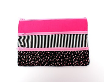 Sale! Adorable Floral Pencil case/ Makeup Bag With Three Pockets and Pink Zippers 21cm x 14.5cm
