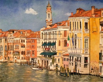 Venice Italy watercolor print. Italy painting. Venice painting. Watercolor art. Italian painting. Venice picture. Italian decor. Venice art.