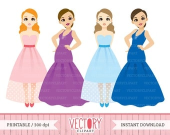 4 Party Dress Clipart, Evening Dress Clipart, Sweetheart Prom Dresses, Ball Gown Clip Art, Party Girls Clip Art Images by Vectory