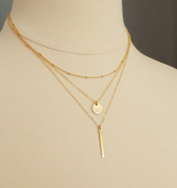 initial disc layered necklace gold layer by minimalmodernandme