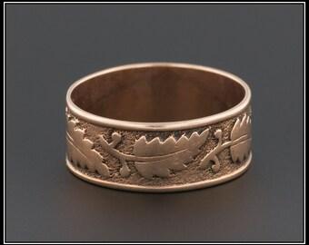 Antique 14k Rose Gold Ring, Cigar Style Band, Wedding Band