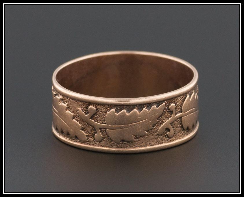 antique 14k gold ring cigar style band wedding band