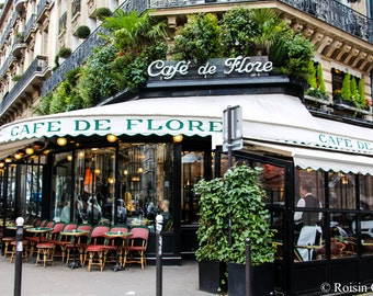 Cafe de Flore Paris Photo Print, Paris cafe, Paris Photography, Classic Paris Cafe, Fine Art Photography, Paris Wall Art, cafe wall art