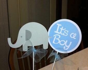 Elephant centerpiece sticks, its a boy, boy baby shower decorations, elephant it's a boy