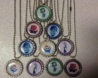 Inside Out Party favor Bottlecap necklaces 10 bottle cap