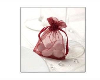 10 Burgundy Organza Favour Bags, weddings, favor bags, wedding supplies, keepsakes, weddings, wedding favours, UK seller