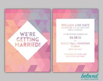 Geometric Shapes Wedding Invite Set