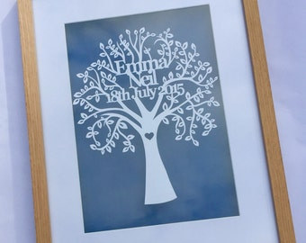 Hand Cut and Framed Personalised Wedding / 1st Anniversary Typography Tree Papercut