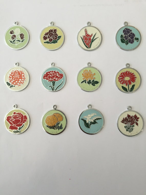 "Large 1.25"" Flower of the Month Charms (set of 12)"