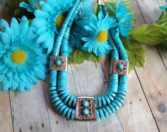 Vintage Native American Turquoise Necklace, Turquoise Necklace, Gift For Her, Native American Jewelry