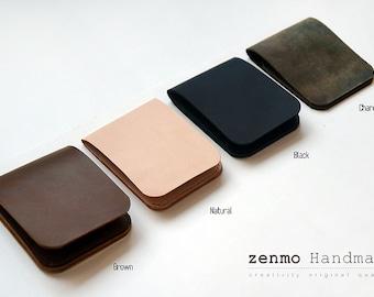 Handmade minimal Leather Wallet, card wallet mens wallet card holder simple wallet