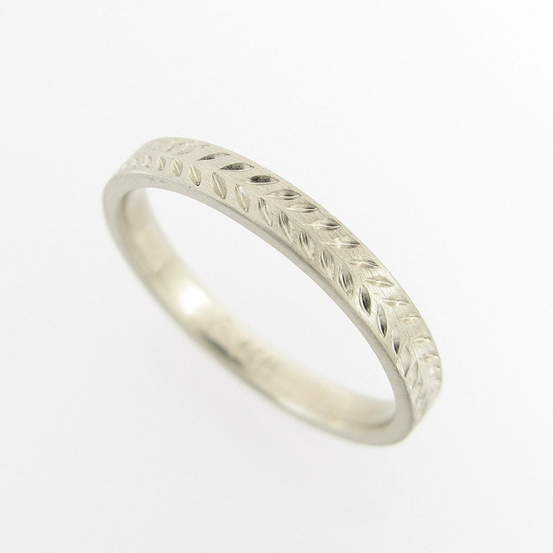 Wedding Ring Bands On Hand: Wheat Pattern Wedding Band White Gold Wedding Band Hand