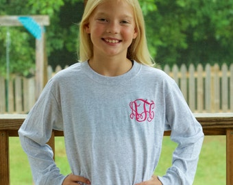 Girls Monogram Shirt, Pocket Monogram Shirt, Youth Monogram Shirt, Monogram T-shirt, Girls Pocket Monogram T-shirt
