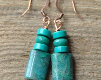 Genuine Turquoise, Agate Earrings, Copper Earrings, Gemstone Earrings, Green, Blue, Throat Chakra, Dangle Earrings, Healing, Protection, Joy