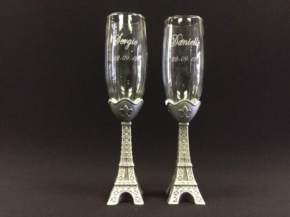 Engraved Champagne Glasses France