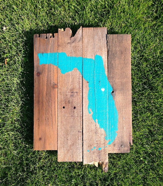 Reclaimed Wood Signs: Custom US State Reclaimed Wood Sign Florida By