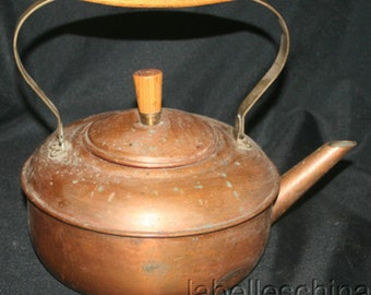 Vintage Solid Copper Kettle Wood and Brass Handle Nice Patina 10 Cup Kettle