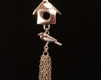 Silver-toned Bird with House Rearview Mirror Charm