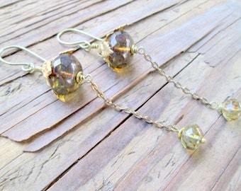 Very Long Chain Earrings, Swinging Ball Earrings, Shoulder Dusters, Long Dangling Crystal Art Nouveau Brass Earrings, Long Bohemian Dangles