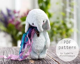 Artists Miniature Teddy Elephant pattern, teddy bear elephant, teddy pattern, elephant teddy, soft toy pattern, 4.7 inches