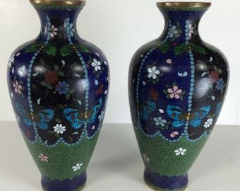 Japanese Meiji Period Cloissone Vases Featuring Butterflies and Flowers Enamel