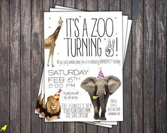 Zoo Birthday Invite, Digital File, Custom Invitation
