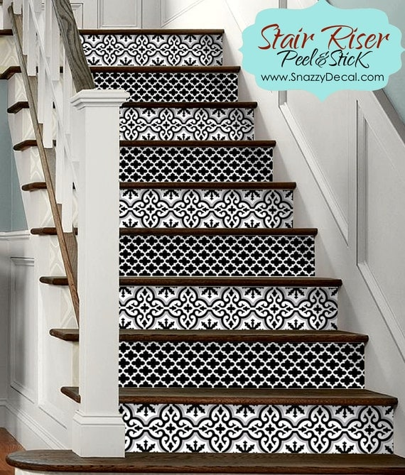 15pc stair riser vinyl strips removable sticker peel stick. Black Bedroom Furniture Sets. Home Design Ideas