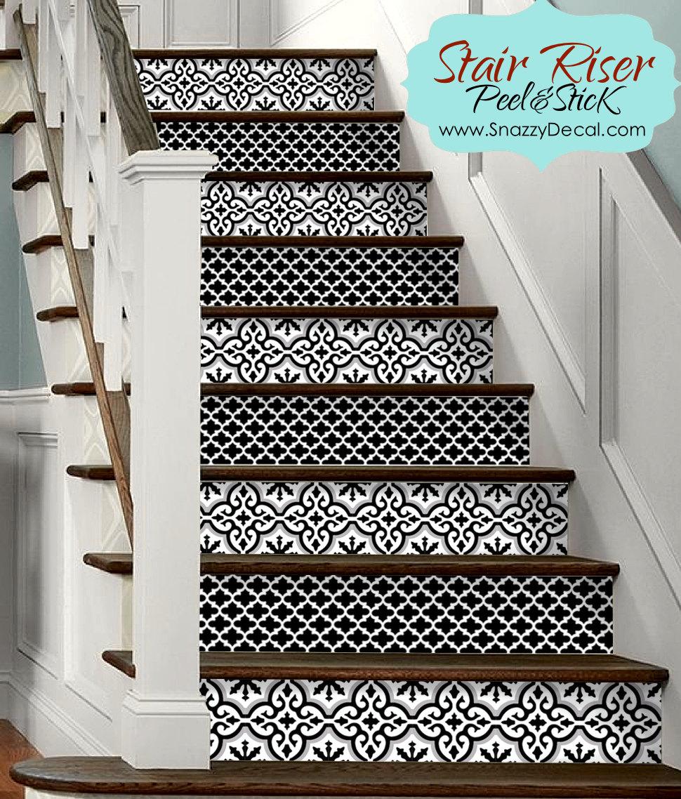 15pc stair riser vinyl strips removable sticker peel stick - Stickers escalier leroy merlin ...