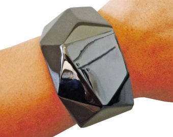 Activity Tracker Bracelet for Jawbone Move Fitness Trackers - The SLOANE in Hematite Hinge Bangle Jawbone Bracelet - FREE U.S. Shipping