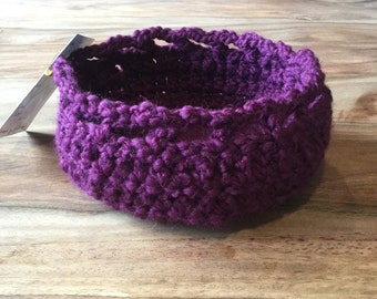 Small, Chunky Purple Crochet Basket