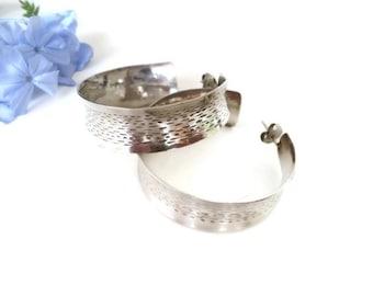 Vintage Hoop Earrings, Sterling Silver Hoop Earrings, Chunky Wide Hoop Earrings, Designer Jewelry For Her, Earrings for Wedding, For Bride