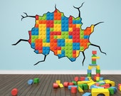 Lego Bricks Cracked Wall Kids Wall Art Sticker Decal Mural Huge WAPC108C