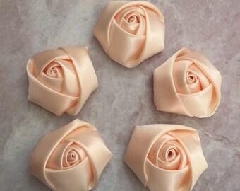 Rossettes, satin flowers, headband supplies, roses, headband flowers, wedding flowers, silk flowers, rolled flowers, flower girl,