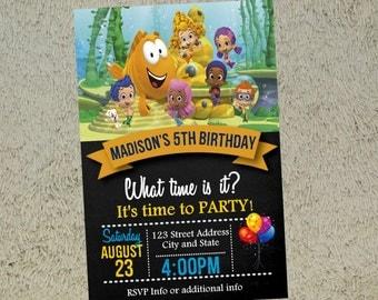 Bubble Guppies Birthday Invitation Bubble Guppies Invitation Bubble Guppies Invite Free Thank you Card Included