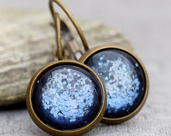Blue Glitter - Earrings
