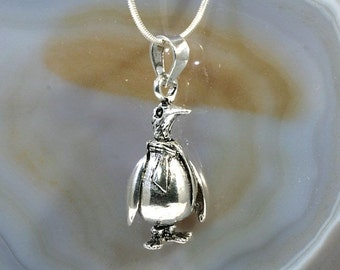 Penguin, pendant 925 sterling silver, moveable