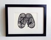 "Snowshoes handmade linocut print (soft white) 5x7"", unframed.  Home decor, wall art, holiday gift, holiday decor, birthday gift, printmaking"