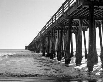 Black and white Avila Beach California Pier