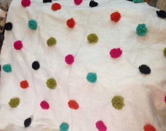 hand loomed moroccan spotted blanket -multi colored