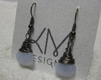Faceted Blue Chalcedony Wire Wrapped Earrings Gunmetal