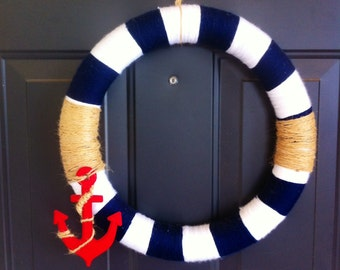 Red, blue and white anchor nautical door wreath