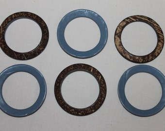 Large one side painted, blue, coconut shell rings, DIY crafts, jewelry making supplies