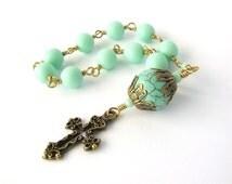 Mini Rosary Catholic Chaplet - Handmade Mint Green Rosary Beads Chaplet Tenner- Unbreakable Brass Rosary - Catholic Gift