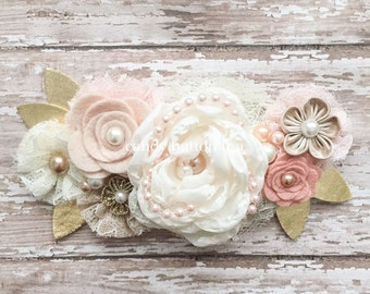 Rose Flower Baby Headband, Rustic Wedding Hairpiece, Lace Headband, Ivory Champagne Blush Gold Headband, Felt Headband, Flower Girl Headband