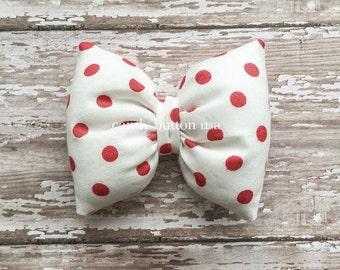 Red Polka Dots Bows Puffy Bows Headband * Baby Headband * Baby Bows * Poofy Pillow Bows Headband * Baby Headbows Handmade Bows * Fabric Bows