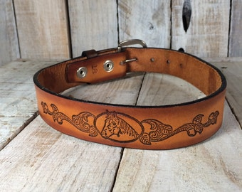 Kids Leather Belt, Kids Belt, Little Boys Belt, Kids Tooled Belt, size 18 belt, Little Girls Belt, Cowgirl Kids Horse Belt, Kids Cowboy Belt