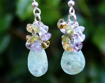Aquamarine Multi Gemstone Cluster Earrings.Sterling silver.Dangle.Drop.Bridal.Blue.Multi Colors.Colorful.Amethyst.Citrine.Peridot.Hand made.