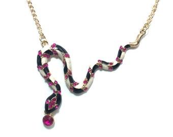 Large Pink Rhinestone Snake Necklace