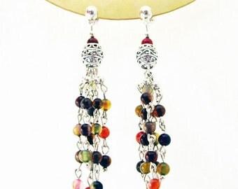 Tourmaline Earrings, Gemstone Earrings, Long Earrings, Colourful, Fashion Earrings, Unique Earrings, Tourmaline Jewelry, Fashion Jewelry