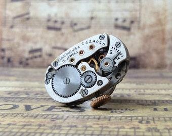 Elgin Watch Movement, Silver Tie Tack, Elgin Tie Tack, Steampunk Tie Tack, Lapel Pin, Elgin Lapel Pin, Silver Tie Tack, Tie Tack, Ge